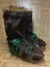 VNTG🔥 Nort Men's Yeti Boots Real Hair Fur Leather Brown Sasquatch Boot 11 Italy