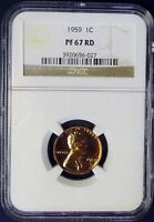 1959 NGC PF 67 RD LINCOLN MEMORIAL CENT! VERY SHARP!