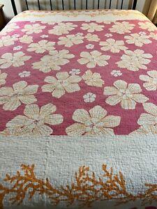 Bright Fun Soft Cotton  Tropical Flower Quilt 106x92 king #460