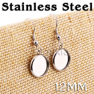 Stainless Steel Cabochon Earrings Base Blank Round Flat 1.2cm Cameo Setting 12mm