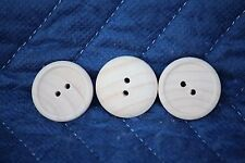 "THREE (3) 1"" Button New Raw Unfinished Wood Craft Lot Made in USA!"