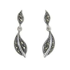 Sterling silver marcasite stud leaf drop earrings