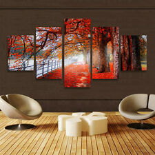 5Pcs Autumn Red Maple Tree Canvas Print Wall Art Painting Picture Decor Unframed