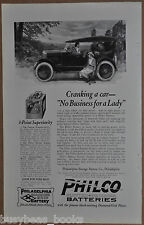 1922 PHILCO Automobile Battery advertisement, Lady cranking engine antique car