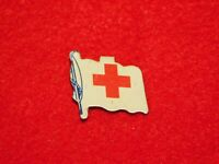 VINTAGE FOLD BEND BACK BUTTON RED CROSS FLAG