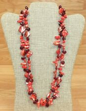 Unbranded Red Glass Rock Style Double Layer Women's Fashion Necklace