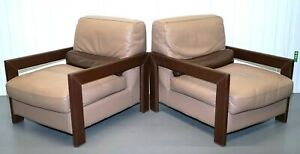 BEAUTIFUL POLTRONA CREAM/BROWN LEATHER PAIR OF ARMCHAIRS VERY COMFORTABLE