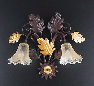 Applique Wall Lamp Classic Wrought Iron Flowers Leaves Gold Art Povera