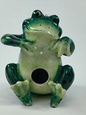 Adorable Ceramic Frog Birdhouse Decoration