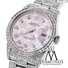 Diamond Rolex Date 15200 34mm Pink Flower Diamond Dial Diamond Oyster Band