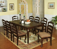 Dining Set in Dark Walnut Dining Room Furniture 7pc Set Dining table w/ 6 Chairs