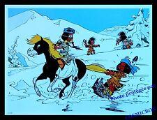 YAKARI cheval ski montagne neige AFFICHE bleu chambre poster poney indien enfant