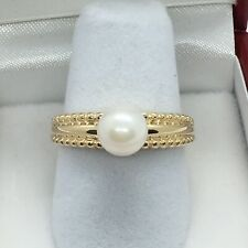 14k Gold Ring With A Single 6.5mm Pearl