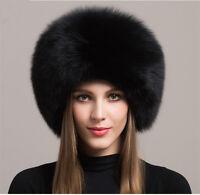Women Real Black Fox Fur Hat Russian Winter Warmer Ear Cap Ushanka Cossack Ski