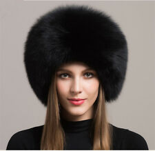 Womens Real Fox Fur Hat Russian Winter Warmer Ear Cap Ushanka Cossack Ski Black
