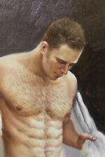 """Fine art nude male original oil painting portrait men after bath signed 16""""x24"""""""