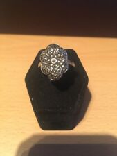 Beautiful Vintage SILVER Stamped Marcasite Ring Size Q 1/2 Used