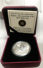 2013 Canada Silver 25th Anniversary Maple Leaf 1oz High Relief Proof Piedfort