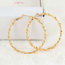 Woman Fashion Gold Plated Crystal Big Circle Luxury Dangle Hoop Earrings Gift