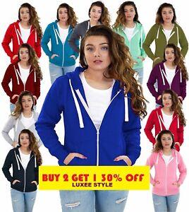 Ladies Plain Zip Up Hoodie Sweatshirt Womens Fleece Jacket Hooded Top UK
