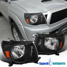 For 2005-2011 Toyota Tacoma Crystal Clear Headlights Lamps Black Replacement