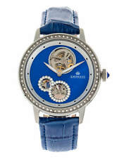 Empress Tatiana Automatic Semi Skeleton Dial Blue Leather Women's Watch EM2902