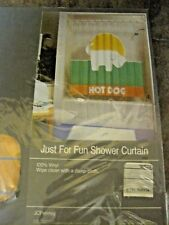 HOT DOG ~ JUST FOR FUN VINYL SHOWER CURTAIN FROM JC PENNY ~ NEW, SEALED