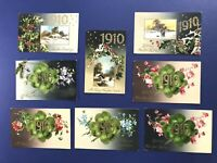 8 YEAR DATES 1910, New Years Antique Postcards For Collectors Nice w Value