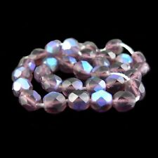 """6mm faceted round, AB matte purple Czech fire polished glass beads, 8"""" strand, 3"""