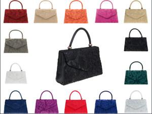 Women Floral Lace Satin Clutch Bag Ladies Wedding Evening Party Shoulder Handbag