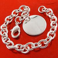 Bracelet Bangle Real 925 Sterling Silver SF Solid Ladies ID Medal Pendant Design