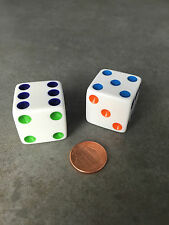 Set of 2 D6 25mm Large Opaque Jumbo Dice - White with Multicolor Pip Pair