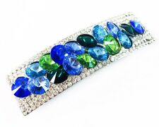 USA HAIR PIN Clip Crystal Swarovski Element Cubic Zirconia Barrette Blue bead