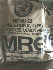 "Orig. MRE US Army Menue 21  Tuna chunk light, Lemon Pepper ""Meal ready to eat"