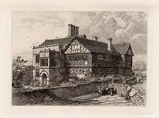 """R. KENT THOMAS 1800s Original Etching """"Hall in the Wood, Lancashire"""" FRAMED COA"""