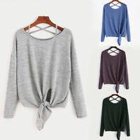 Womens Tie Up Long Sleeve T-Shirt Ladies Loose Tops Blouse Pullover Sweatshirt
