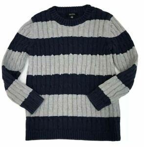 Gil et Jas Boy's Blue Striped Cable Knit Crew Neck Sweater size 6 Orig.$58