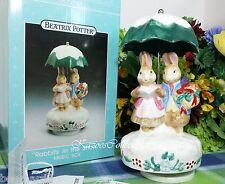 Schmid Beatrix Potter Music box Rabbits in the Snow Under Umbrella