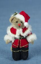 """DEB CANHAM """"SANTA MOUSE"""" MINIATURE MOHAIR MOUSE IN SANTA OUTFIT"""