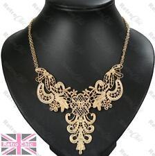 Decorado De Filigrana Collar Collar Cadena F21 Vintage Estilo Antiguo Oro pltd Encaje