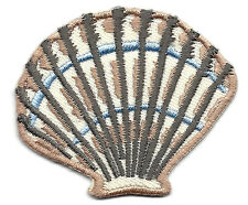 SEASHELL, FAN SHAPED-BLUE & TAN - Iron On Embroidered Applique/Beach