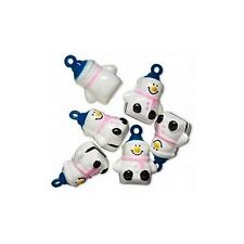 6 Snowman Jingle Bells with Pink Scarf + Blue Hat ~ Brass Christmas Crafts Beads