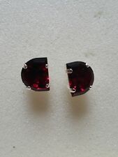 Chunky Large Half Circle Stud Earrings using Swarovski Ruby. Made in UK.