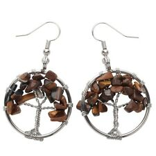 Natural Tiger Eye Dangle Hoop Earrings Handcrafted Jewelry Gifts Women Mom CAE01