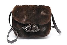 "Nancy Gonzalez Coffee Crocodile Mink Evening Bag with Tassel   7.5"" x 6""  PRETTY"