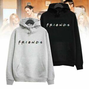 Womens Hoodies Friends Pullover Sweatshirt Hooded Jumper Ladies Black/Gray Tops