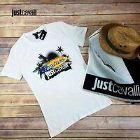 Just Cavalli T-Shirt Tee Men White Printed Graphic Cotton Round Neck Designer