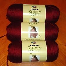 Caron Simply Soft Yarn Lot Of 3 Skeins (Burgundy #9762) 6 oz.