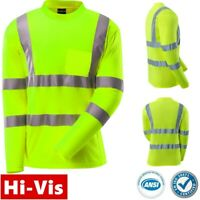 Hi Vis ANSI Class 3 Reflective Safety Lime Long Sleeve T Shirts High Visibility