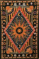 Orange Cotton Burning Sun Moon Face Wall Hanging Hippie Bedding Twin Tapestry